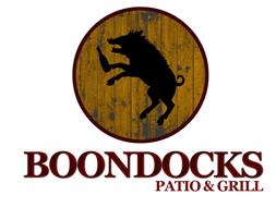 Logo of boar drinking a beer for Boondocks Patio and Grill